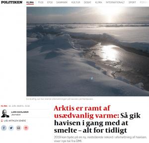Politiken varsler rekordafsmeltninger for Arktis havis 2019. Men på hvilket fundament?