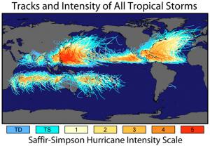 Udviklingen for storme, globalt og regionalt