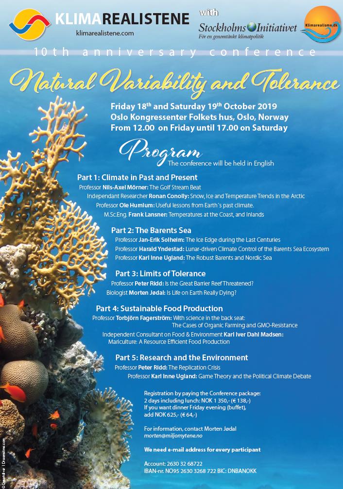 Husk tilmelding til jubilæumskonferencen for de Norske Klimarealister